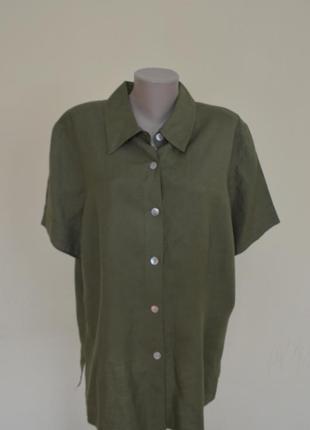 Красивая блуза-рубашка из льна цвета хаки ,размер 20