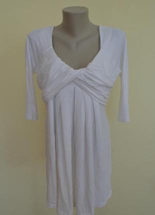 Шикарная трикотажная белая туника или короткое платье из виско...