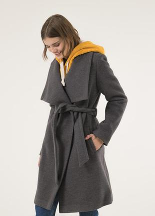 Женское пальто с поясом season натали-1 графит