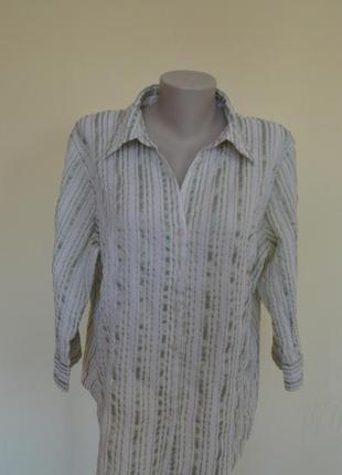 Классная фирменная блуза-рубашка из рельефной ткани в зеленую ...