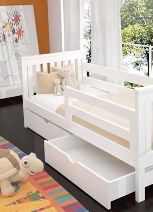 Кровать детская белая кроватка деревянная Адель от годика в налич