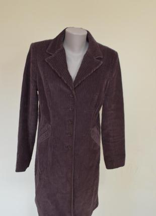 Очень стильное брендовое пальто-плащ из вельвета,коричневое