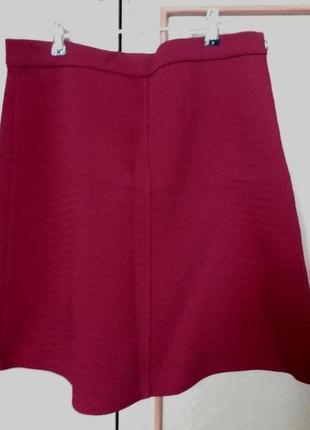 Бордовая юбка трапеция zara, супер скидка