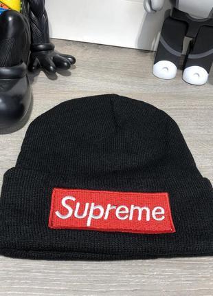 Крутая шапка supreme чёрная унисекс