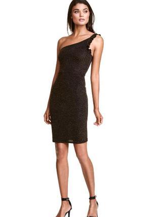 Нарядное черное с золотом платье стильное асимметричное вечерн...