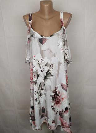 Платье красивое эластичное в цветочный принт большой размер uk...