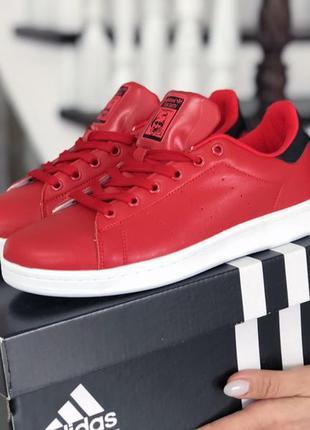 Adidas stan smith black/red🔺женские кроссовки адидас стан смит...