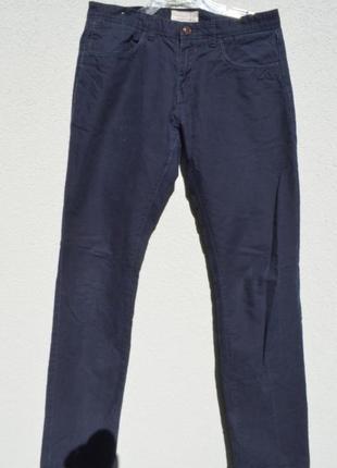 Брендовые брюки из котона синего цвета,размер 31