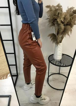Модные кожаные штаны брюки из эко кожи