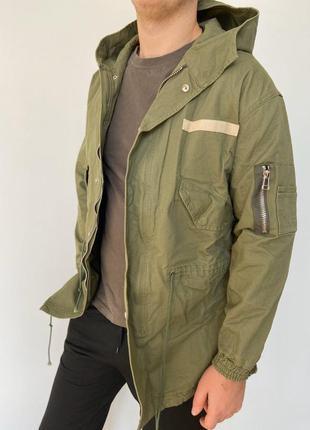 Мужская длинная куртка парка легкая хаки