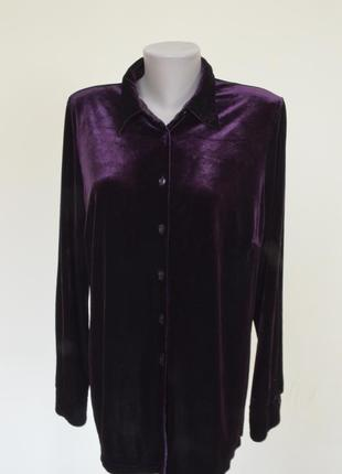 Очень красивая блуза-рубашка из пан-бархата фиолетового цвета