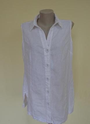 Очень красивая белая блузочка ,лен 100%,удлиненная