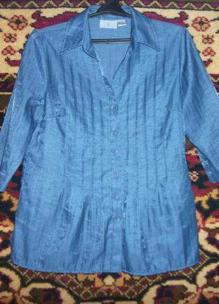 Блузка,рубашка синяя,блестящая fair lady
