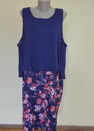 Шикарное комбинированное английское платье большого 26 размера