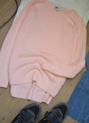 Нежный пудровый розовый свитер удлиненный с разрезами тёплый x...