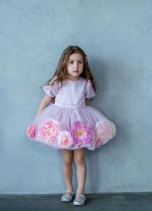 """Платье для девочек """"Пионы 4D"""""""