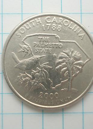 Монета США 25 центов 2000 Р Южная Каролина Государство Пальметто