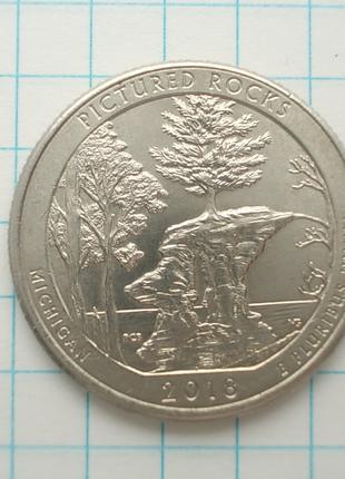 Монета США 25 центов 2018 Р Живописные скалы Мичиган