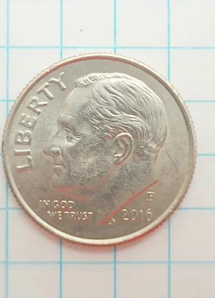 Монета США 1 дайм 10 центов 2016 P Филадельфия не магнитится
