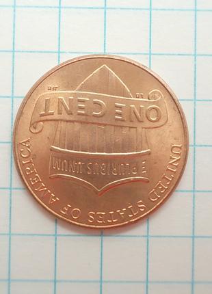 Монета США 1 цент 2016 Цинк с медным покрытием не магнитится
