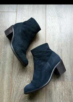 Темно синие замшевые кожаные ботильоны ботинки полу сапоги