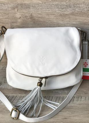 Женская итальянская кожаная белая сумка