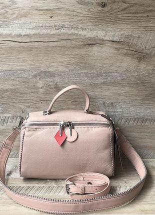 Женская кожаная сумка розовая чёрная белая