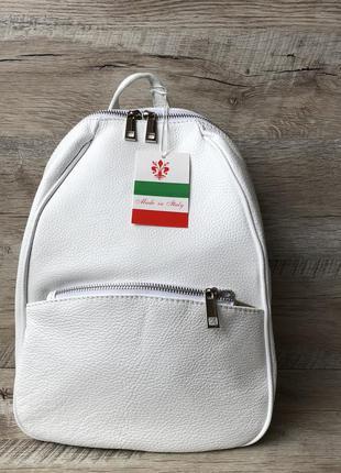 Кожаный рюкзак vera pelle производство италия белый чёрный гол...