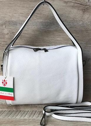 Женская белая кожаная сумка vera pelle