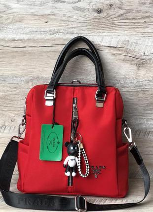 Женская красная тканевая сумка рюкзак