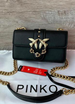 Женская кожаная сумка pinko пинко черная