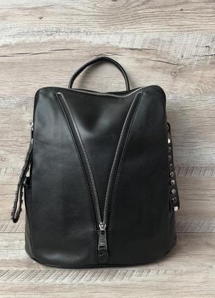 Женский кожаный рюкзак чёрный