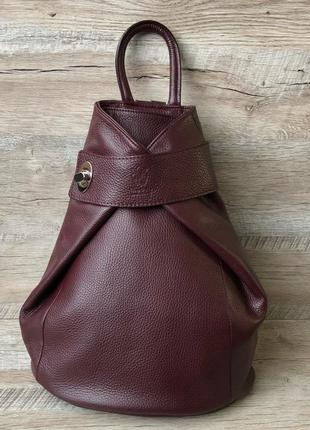 Женский кожаный рюкзак vera pelle цвет марсал