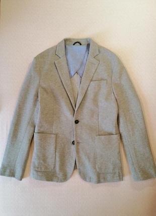 Стильный молодежный пиджак selected homme хлопковый серого цве...