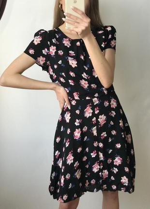 Платье чёрное мини короткое цветы прямое трапеция юбка солнце ...
