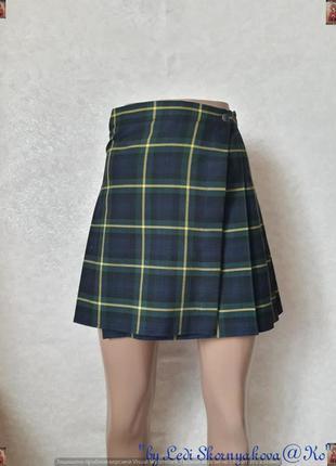 Новая мини юбка на запах в крёпную клетку на половину плесиров...