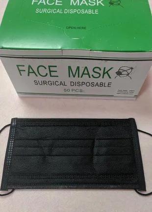 Медицинские маски с угольным фильтром, 4-слойные, черные, плотные