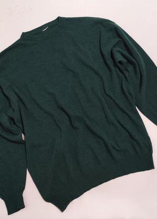 Темно-зеленый шерстяной тонкий джемпер