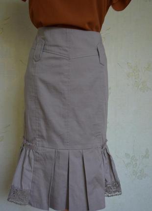 Хлопковая юбка с кружевом гипюром