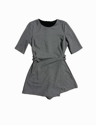 Серый клетчатый ромпер комбинезон платье zara