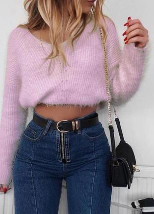 Розовый мягкий короткий свитер травка