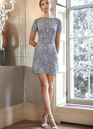 Шикарное вечернее платье с вышивкой бисером