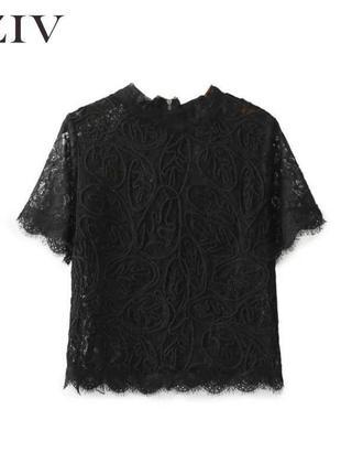 Полупрозрачная кружевная блуза