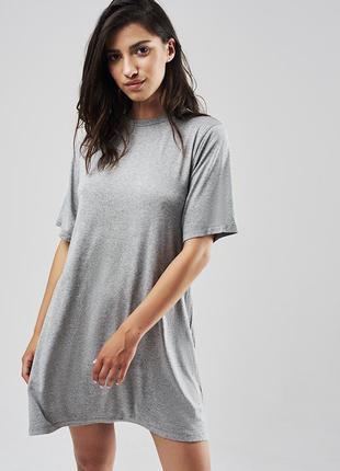 Серая платье футболка h&m