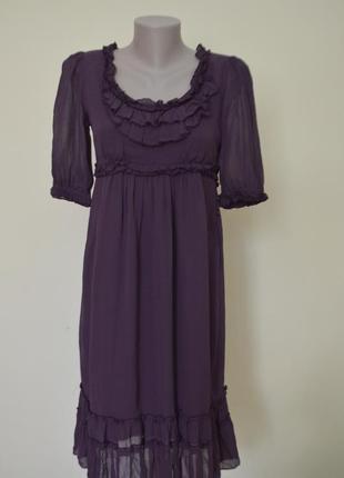 Классное модное платье шифон вискоза и хлопок фиолетовое с рюшами