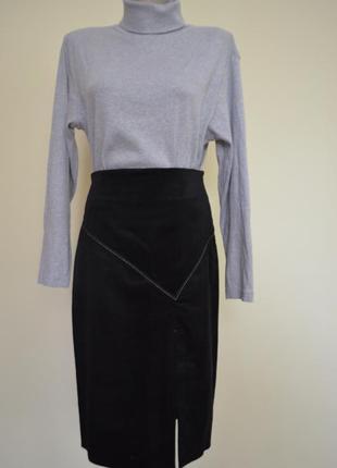Теплая классическая черная юбка высокая талия