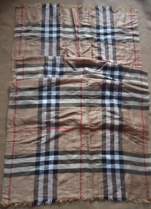 Большой фирменный шарф палантин шелк/кашемир burberry 68*193