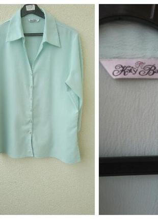 Нежная рубашкa бирюзового цвета большой размер 2xl#мятная рубашка