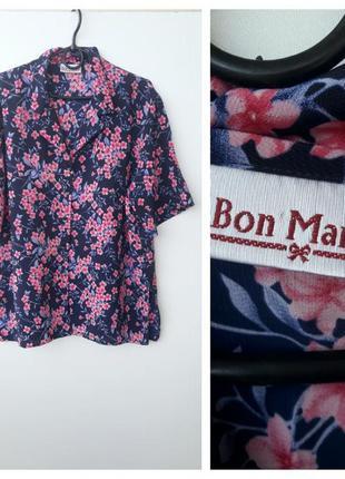 Актуальная рубашка с коротким рукавом в цветочный принт большо...