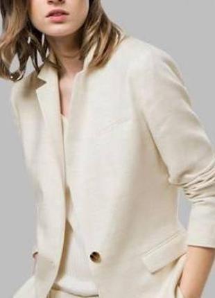Льняной белый блейзер/ удлиненный пиджак/ жакет